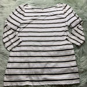 LOFT Gold/White/Black Stripe 3/4 Sleeve Tee
